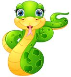 Desenhos animados felizes da serpente verde Fotos de Stock Royalty Free