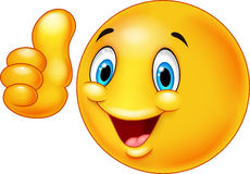 Desenhos animados felizes do emoticon do smiley que dão os polegares acima Imagens de Stock Royalty Free