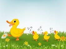 Desenhos animados felizes do pato Fotografia de Stock