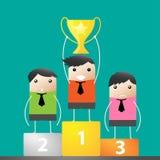 Desenhos animados felizes do sucesso do vencedor do troféu Imagem de Stock Royalty Free