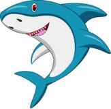 Desenhos animados felizes do tubarão ilustração stock