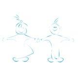 Desenhos animados felizes dos miúdos Fotos de Stock