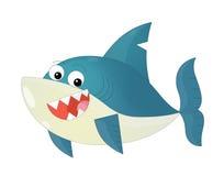 Desenhos animados felizes e tubarão engraçado do mar isolado ilustração stock
