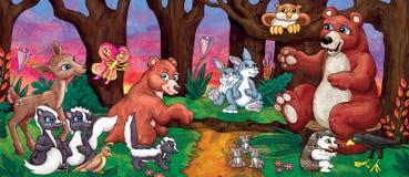 Desenhos animados Forest Animals Foto de Stock Royalty Free