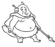 Desenhos animados gordos do caçador do homem da Idade da Pedra Foto de Stock