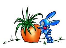 Desenhos animados grandes da colheita do coelho e da cenoura Fotografia de Stock Royalty Free