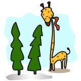 Desenhos animados grandes do girafa desenhados mão Fotos de Stock