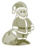 Desenhos animados gravados Santa Fotografia de Stock