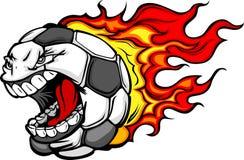 Desenhos animados gritando flamejantes da face da esfera de futebol Fotografia de Stock