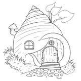 Desenhos animados handdrawn da casa do caracol isolados ilustração do vetor