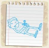 Desenhos animados inoperantes na nota de papel, ilustração do vetor Fotografia de Stock Royalty Free