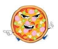 Desenhos animados irritados da pizza Imagem de Stock Royalty Free