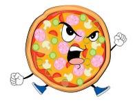 Desenhos animados irritados da pizza Fotografia de Stock Royalty Free