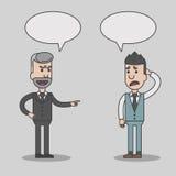 Desenhos animados irritados do chefe e do empregado com bolhas do discurso Imagens de Stock Royalty Free