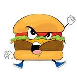 Desenhos animados irritados do hamburguer Imagem de Stock Royalty Free