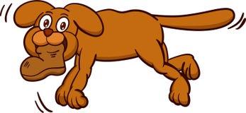 Desenhos animados levando da sapata do cão Foto de Stock