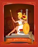 Desenhos animados lisos Athena Goddess da guerra vitorioso ilustração stock