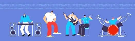 Desenhos animados lisos de Instruments People Concert do músico ilustração stock