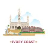 Desenhos animados lisos s do molde do projeto do país da Costa do Marfim ilustração do vetor