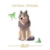 Desenhos animados: Lobo e borboletas felizes cinzentos Foto de Stock Royalty Free