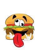 Desenhos animados loucos do hamburguer Fotos de Stock