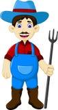 Desenhos animados masculinos engraçados do fazendeiro que guardam o ancinho ilustração stock
