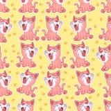 Desenhos animados minúsculos do gato no estilo do teste padrão ilustração royalty free