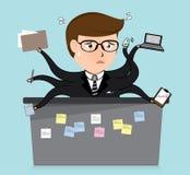 Desenhos animados muito ocupados do homem de negócio, conceito do negócio, Imagem de Stock
