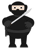 Desenhos animados Ninja com a espada que está sozinho Fotografia de Stock Royalty Free