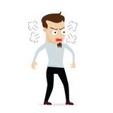 Desenhos animados novos do homem de negócios irritados Imagem de Stock