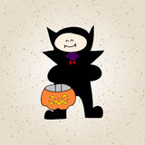 Desenhos animados o Dia das Bruxas do desenho da mão Fotos de Stock