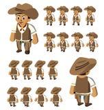 Desenhos animados ocidentais do vetor do cowboy da caminhada ilustração do vetor