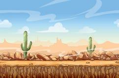 Desenhos animados ocidentais selvagens da paisagem do deserto sem emenda Imagens de Stock Royalty Free