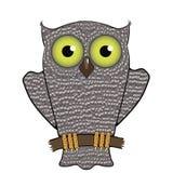Desenhos animados Owl Isolated no fundo branco Fotos de Stock Royalty Free