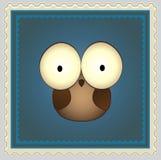 Desenhos animados Owl Postage Stamp Fotografia de Stock Royalty Free