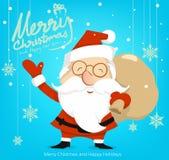Desenhos animados Papai Noel e neve, Feliz Natal, espaço, vetor ilustração stock