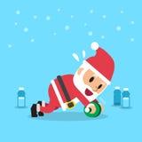 Desenhos animados Papai Noel que faz o exercício do desenrolamento da roda do ab Fotografia de Stock