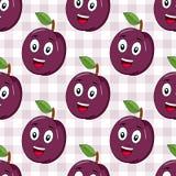 Desenhos animados Plum Seamless Pattern feliz Fotos de Stock