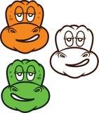 Desenhos animados preguiçosos da cara dos dinossauros Fotos de Stock