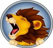 Desenhos animados principais irritados do leão que rujem Foto de Stock