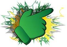 Desenhos animados que apontam a mão no fundo da banda desenhada ilustração royalty free