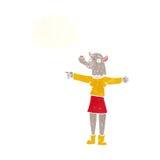 desenhos animados que apontam a mulher do homem-lobo com bolha do pensamento Fotos de Stock