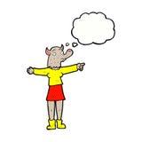 desenhos animados que apontam a mulher do homem-lobo com bolha do pensamento Imagem de Stock Royalty Free