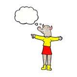 desenhos animados que apontam a mulher do homem-lobo com bolha do pensamento Imagens de Stock