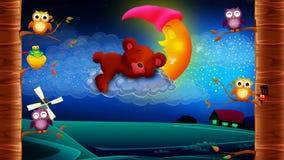Desenhos animados que dormem em nuvens, fundo video dado laços do urso video estoque