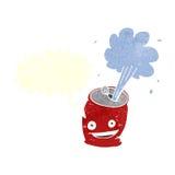 desenhos animados que efervescem a lata de soda com bolha do discurso Foto de Stock Royalty Free