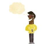 desenhos animados que sorriem óculos de sol vestindo do homem com bolha do pensamento Fotografia de Stock