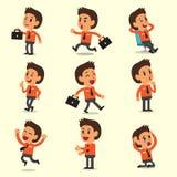 Desenhos animados que um caráter do homem de negócios levanta no fundo amarelo Imagem de Stock Royalty Free