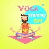 Desenhos animados retros da ioga ilustração stock