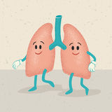 Desenhos animados retros de caráteres humanos dos pulmões Foto de Stock